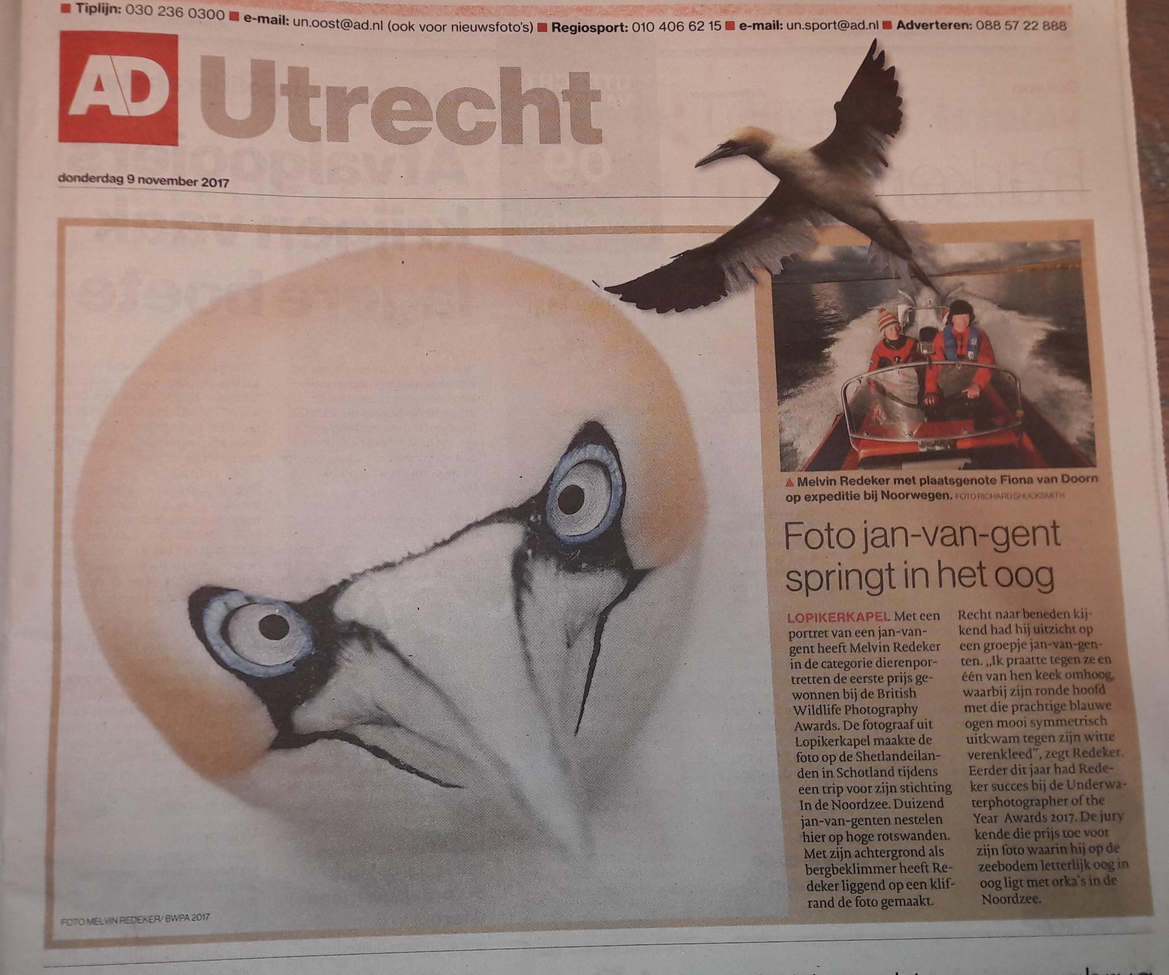 Winnende foto jan-van-gent In de Noordzee in het AD