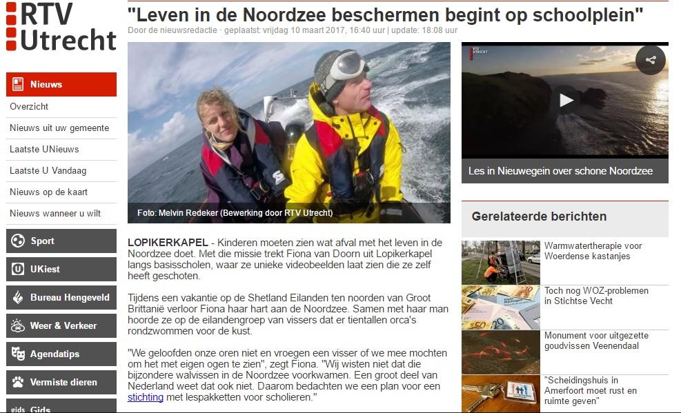 RTV Utrecht bij gastles basisschool van In de Noordzee