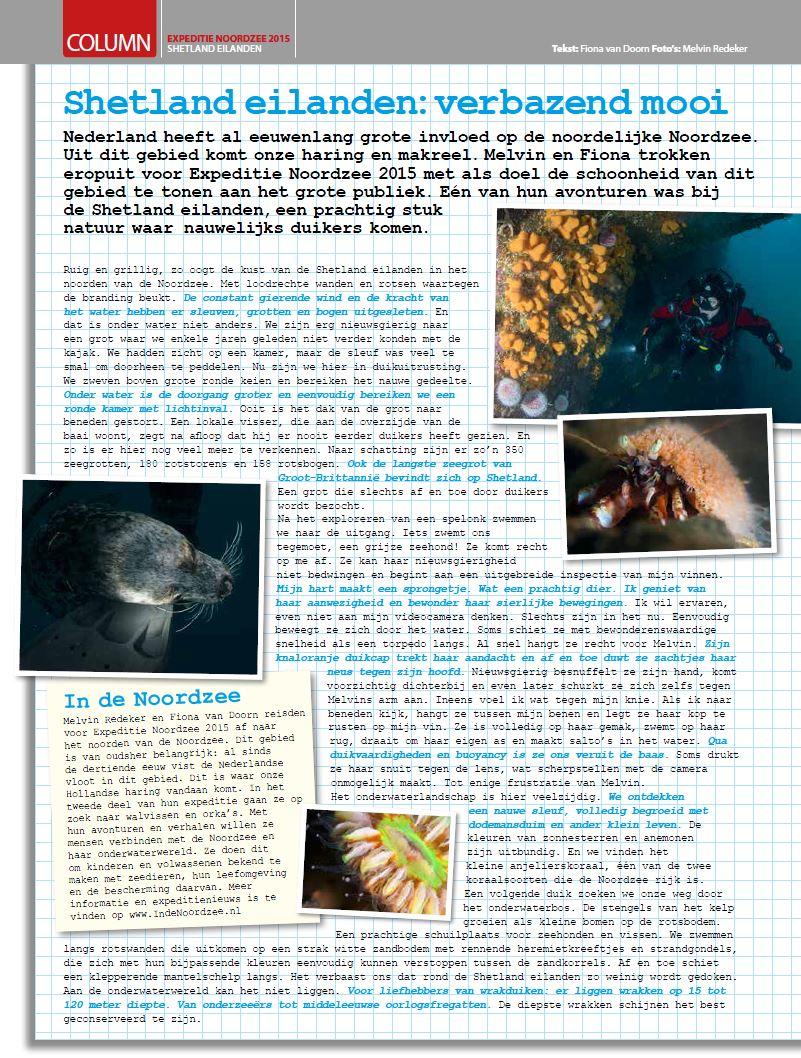 Column In de Noordzee in Duiken Magazine